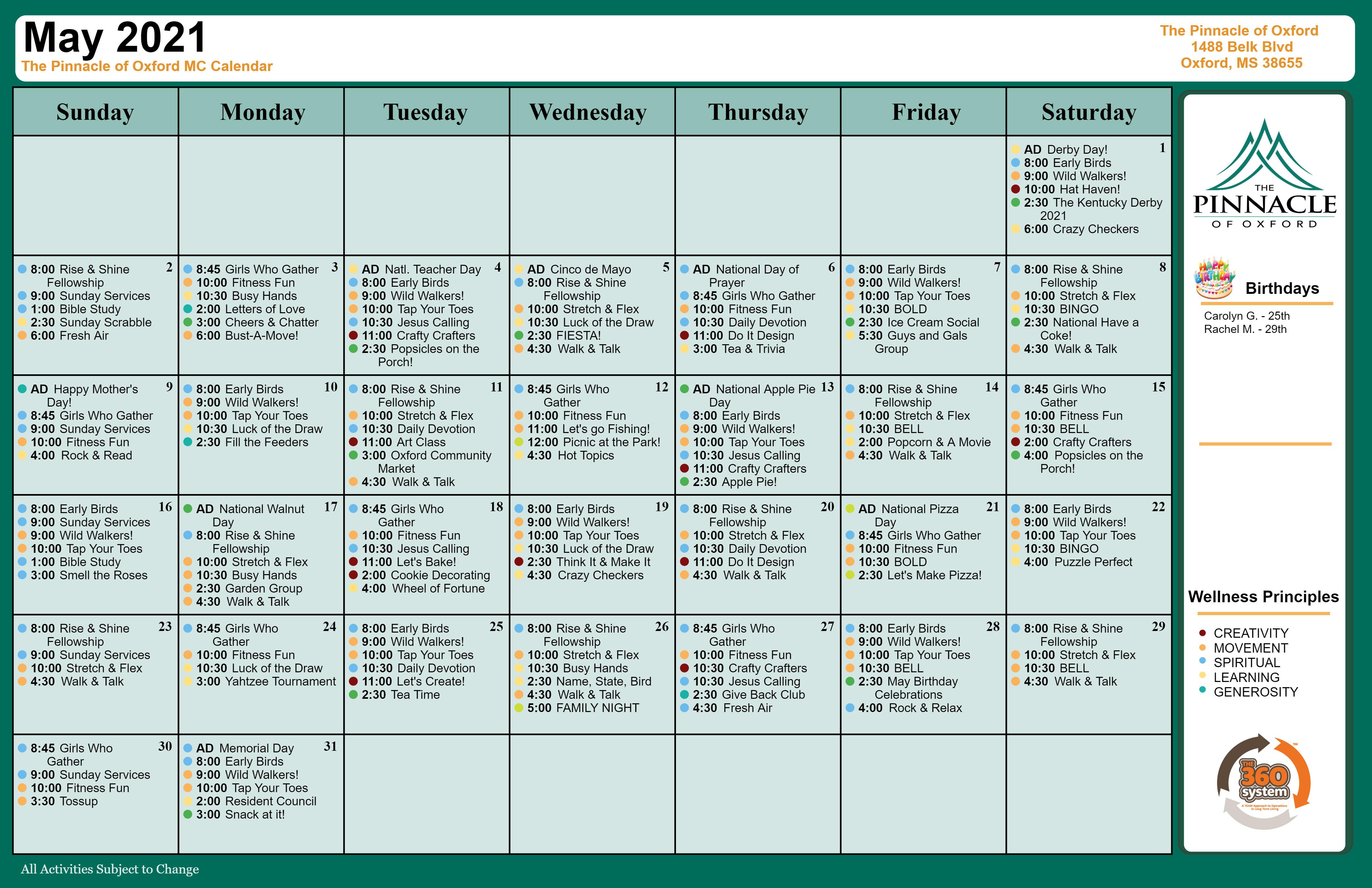 Memory Care Calendar - Pinnacle Of Oxford